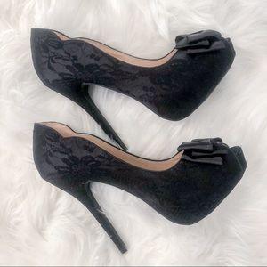 Wild Diva Lounge Black Lace High Heels